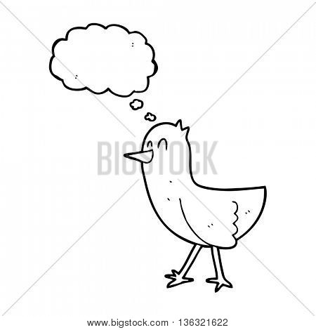 freehand drawn thought bubble cartoon bird