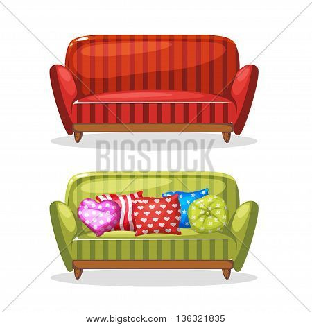 sofa soft colorful homemade, set 2 in vector