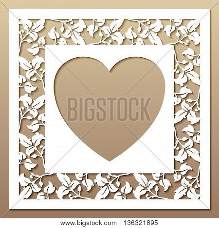 Openwork square frame with leaves and heart. Laser cutting template for greeting cards envelopes wedding invitations.