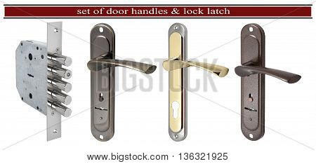 Set of door handles with a hole for the keyhole and silver door latch lock isolated on white background