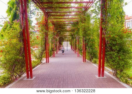 Panama City Panama - May 15 2016: Picturesque walkway in Mirador del Pacifico near Cosco Antiguo in Panama City