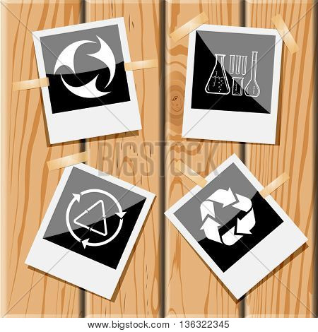 4 images:  chemical test tubes, recycle symbols. Ecology set. Photo frames on wooden desk. Vector icons.