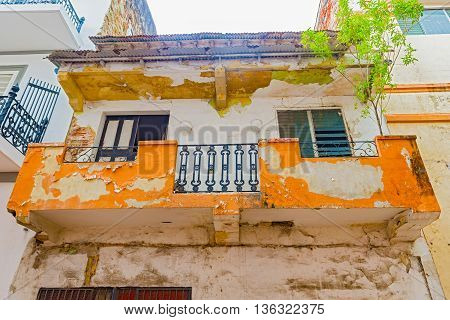 View at the facade of the old colonial house in Casco Antiguo in Panama City
