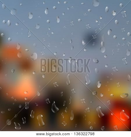 Drops of rain on window with abstract lights. 3d illustration. vector.