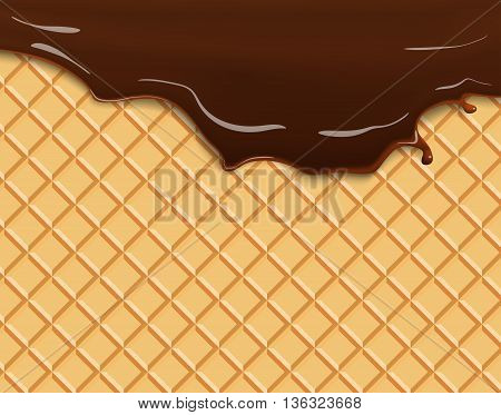 Dark Chocolate Melted on Wafer Background Vector Illustration