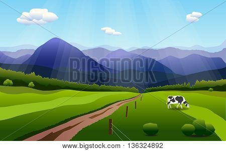 Summer rural landscape with hills, fields and cow in gradient colors. Vector background with separated layers for game. Template of banner, backdrop, poster in cartoon style. Screensaver design.