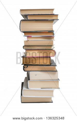 Many stacked books isolated on white background.