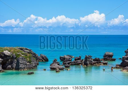 Calm turquoise colored water of Tobacco Bay in Bermuda.