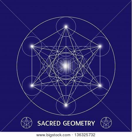 Metatrons Cube symbol sacred geometry vector illustration