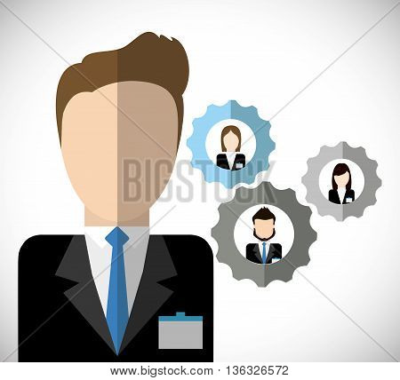 Business represented by businesspeople inside gear icon. flat and isolated illustration