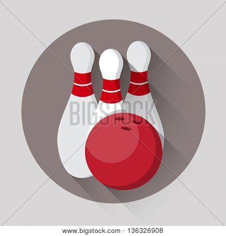 Bowling Game Ball Skittles Sport Icon Flat Vector Illustration