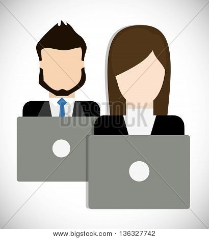 Business represented by businesspeople with laptop icon. flat and isolated illustration