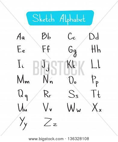 Alphabet Letters Collection Sketch Hand Drawn Set Vector Illustration