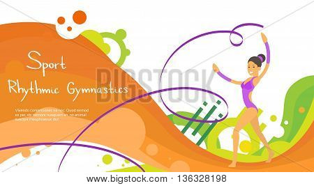Artistic Gymnastics Athlete Sport Game Competition Flat Vector Illustration