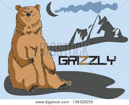 Grizzly bear on mountains background. Vector illustration