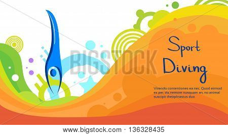 Diving Athlete Sport Game Competition Flat Vector Illustration