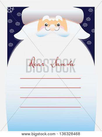 Dear Santa text for letter. Vector illustration