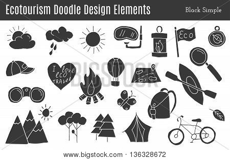 Set of ecotourism graphic design elements in black simple style isolated on a white background. Doodle eco environmental nature logo concept. Hand drawn eco tourism vector illustration.