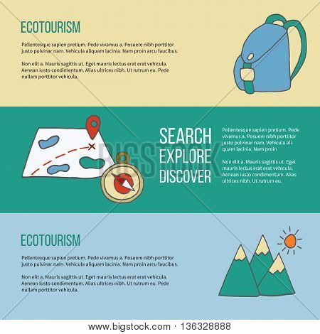 Set of ecotourism posters flyers with hand drawn doodle design elements. Mountains map with pin backpack compass. Yellow green and blue vector illustration in simple flat style.