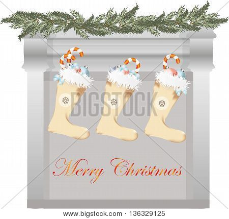 Merry Christmas fireplace and gifts socks. Vector