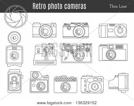 Collection of old retro photo cameras shutter aperture and film in cartridge. Monochromatic thin line style icons. Vintage graphic design elements isolate on a white background. Vector illustration.