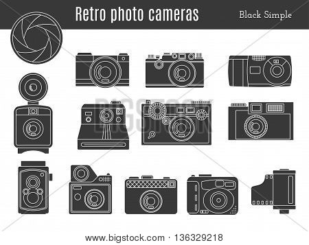 Collection of old retro photo cameras shutter aperture and film in cartridge. Monochromatic black simple style icons. Vintage graphic design elements isolate on white background. Vector illustration.