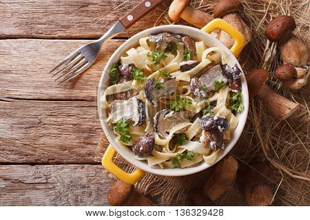 Pasta Fettuccine With Wild Mushrooms In Cream Sauce Closeup In A Pot. Horizontal Top View
