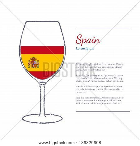 Rough brush stroked wine glass with National flag of Spain top wine making country. Graphic design elements isolated on white background. Template with place for your text. Vector illustration.