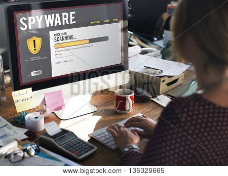 Spyware Online Communication Office Concept