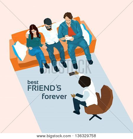 Friends Group Sit On Sofa Top Angle View Vector Illustration