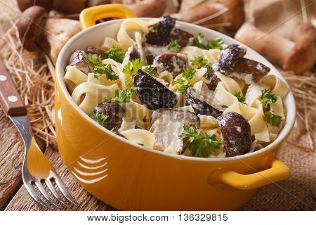 Fettuccine Pasta With Porcini And Cream Sauce Close-up In A Yellow Pot. Horizontal