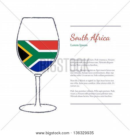 Rough brush stroked wine glass with National flag of South Africa top wine making country. Graphic design elements isolated on white background. Template with place for your text. Vector illustration