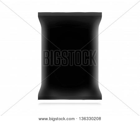 Blank black snack bag mock up isolated 3d illustration. Clear white chips pack mockup. Cookie candy sugar cracker nuts jujube supermarket foil plastic container ready for logo design or identity presentation.