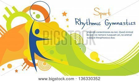 Rhythmic Gymnastics Athlete Sport Competition Colorful Banner Flat Vector Illustration