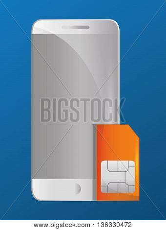 Technology concept represented by smartphone and sms icon. Colorfull and flat illustration