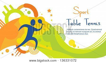 Table Tennis Player Athlete Sport Game Competition Flat Vector Illustration
