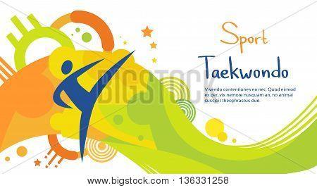 Taekwondo Athlete Sport Game Competition Flat Vector Illustration