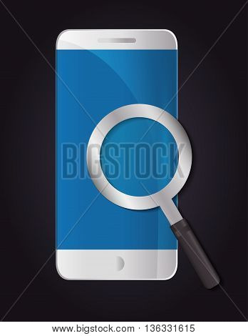 Technology concept represented by smartphone and lupe icon. Colorfull and flat illustration