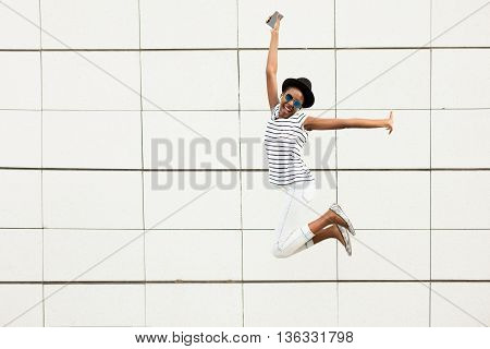 Modern Young Black Girl Jumping