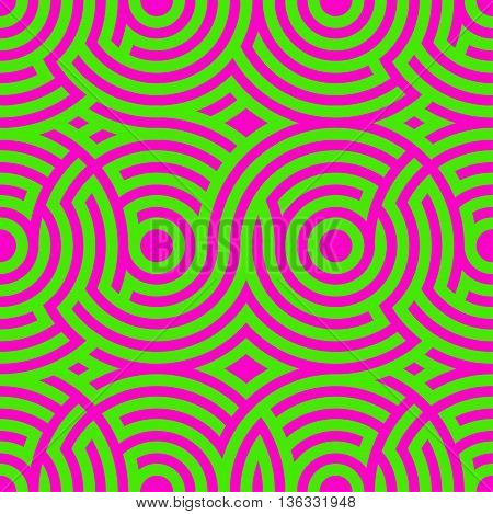 Two-color spiral patterns. Seamless pattern. Vector background. Modern pattern. Hypnotic green and purple line.
