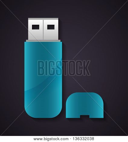 Technology concept represented by usb icon. Colorfull and flat illustration