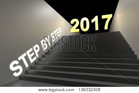 Step by step to new year. 3D rendering.