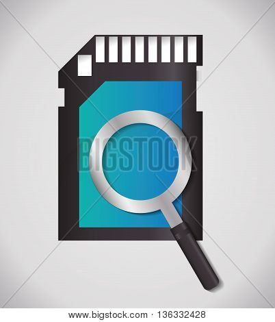 Search concept represented by lupe and sms icon. Colorfull and flat illustration