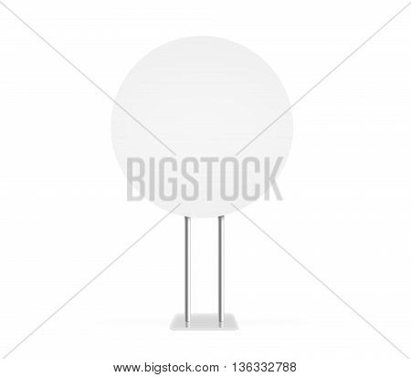 Round information board mock up stand isolated clipping path 3d rendering. Billboard mockup. Support table. Stand on white background. Blank signage stand. Clear plain banner stand. Plate plank panel