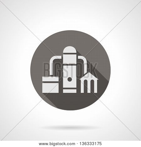 Abstract silhouette sign of water filtering station with long shadow design. Reservoir, pipeline and filtering objects. Industrial facilities theme. Round flat color style vector icon.
