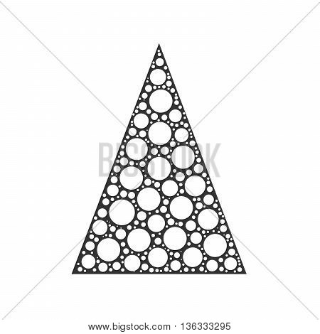 Simple abstract chrismas tree of white dots, or circles, in a grey triangle shape on white background