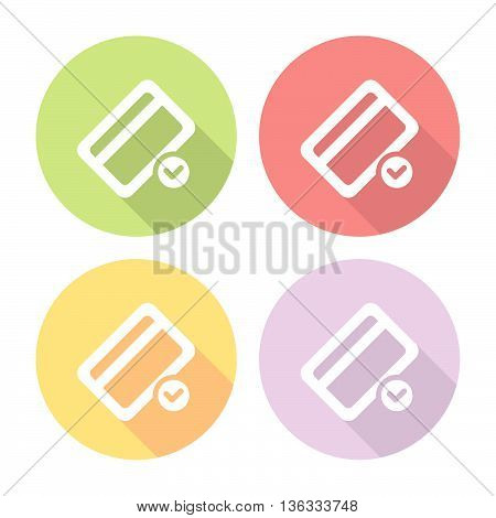 Credit Card Accept Sign Flat Icons Set