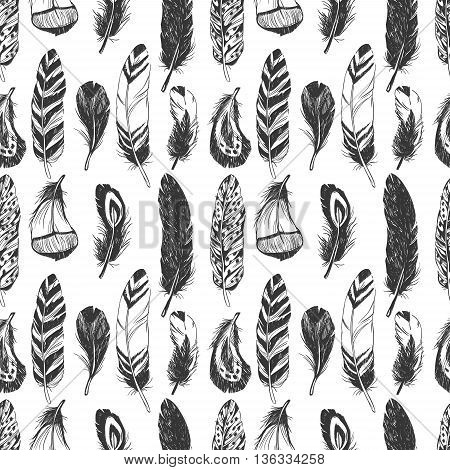 Feathers in Native American Indian style. Hand drawn hipster background. Seamless vector pattern. Boho design, tattoo art, coloring book for adults.