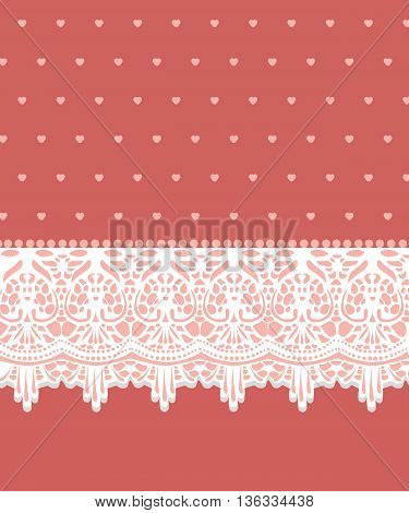 Invitation card with lovely lace ornaments for Valentine Day. Vector