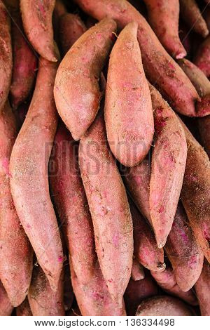 Raw Sweet Potatoes, Sweet Potato In The Market.